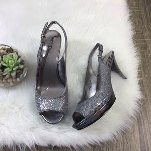 Nine West Karoo Silver Glitter Open Toe Slingback